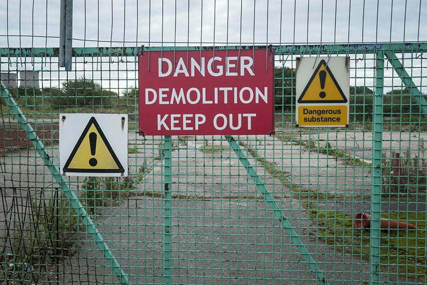 brownfield site asbestos warning